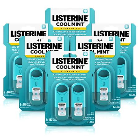 Listerine Pocketmist Cool Mint Oral Care Mist, 7.7mL, 2 count, (Pack of 6)