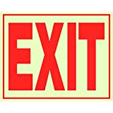 """EXIT"" Reflective Sign, 8"" x 11"", Red Letters on Glow-in-Dark Heat-Resistant Vinyl with Adhesive Backing (840200) - Single (1) Sign"