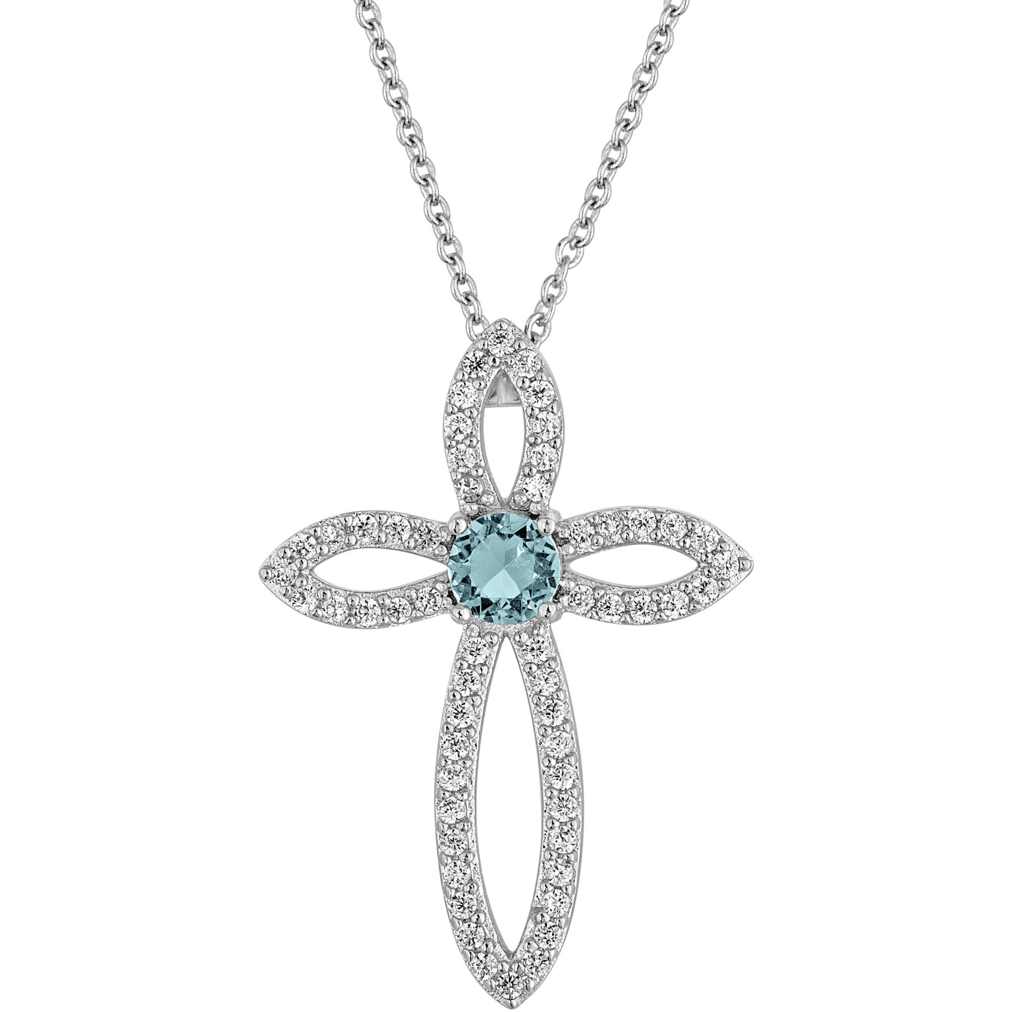 """Gemspirations Sterling Silver Plated Simulated Blue Topaz with CZ Accents Cross Pendant, 18"""""""