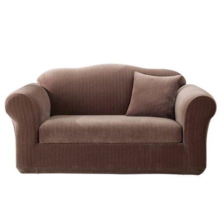 Sure Fit Stretch Pinstripe Box Cushion Loveseat Slipcover