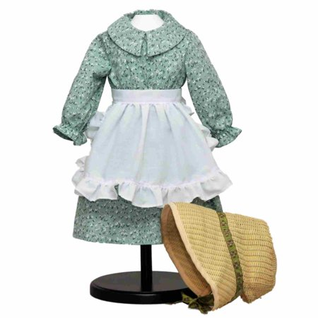 Little House On The Prairie Green Calico Dress With Bonnet A Sized Perfectly For 18 American Dolls