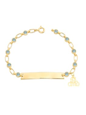 "Retro Link Kids 14K Gold-Plated, Te Amo Charm Bracelet, Blue CZ Engravable ID, 5.5""-6"""