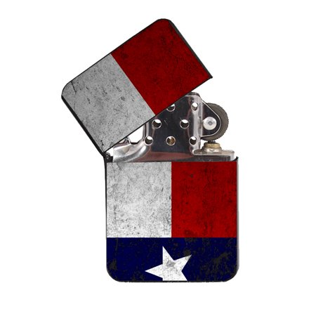 - KuzmarK Black Windproof Flip Top Lighter -  Texas Flag Concrete Wall