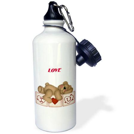 3Drose Adorable Teddy Bear On I Luv U Blocks  Sports Water Bottle  21Oz