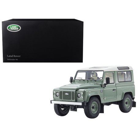 Land Rover Defender 90 Heritage Grasmere Green with Alaska White Top 1/18 Diecast Model Car by (Kyosho Diecast Model Car)