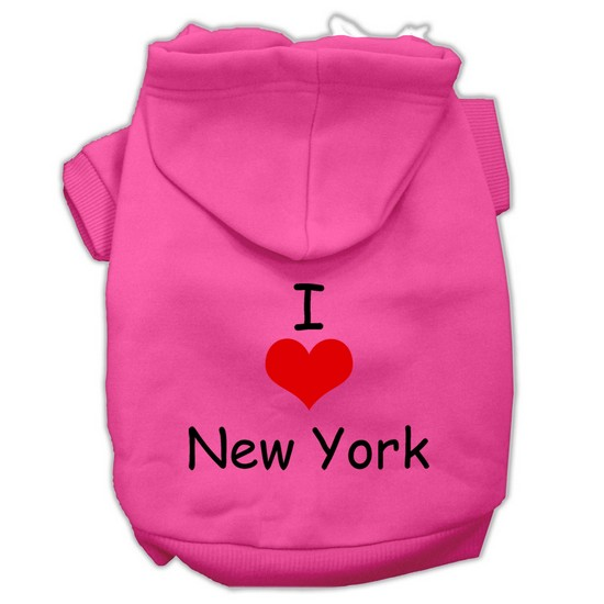 I Love New York Screen Print Pet Hoodies Bright Pink Size XXL (18)