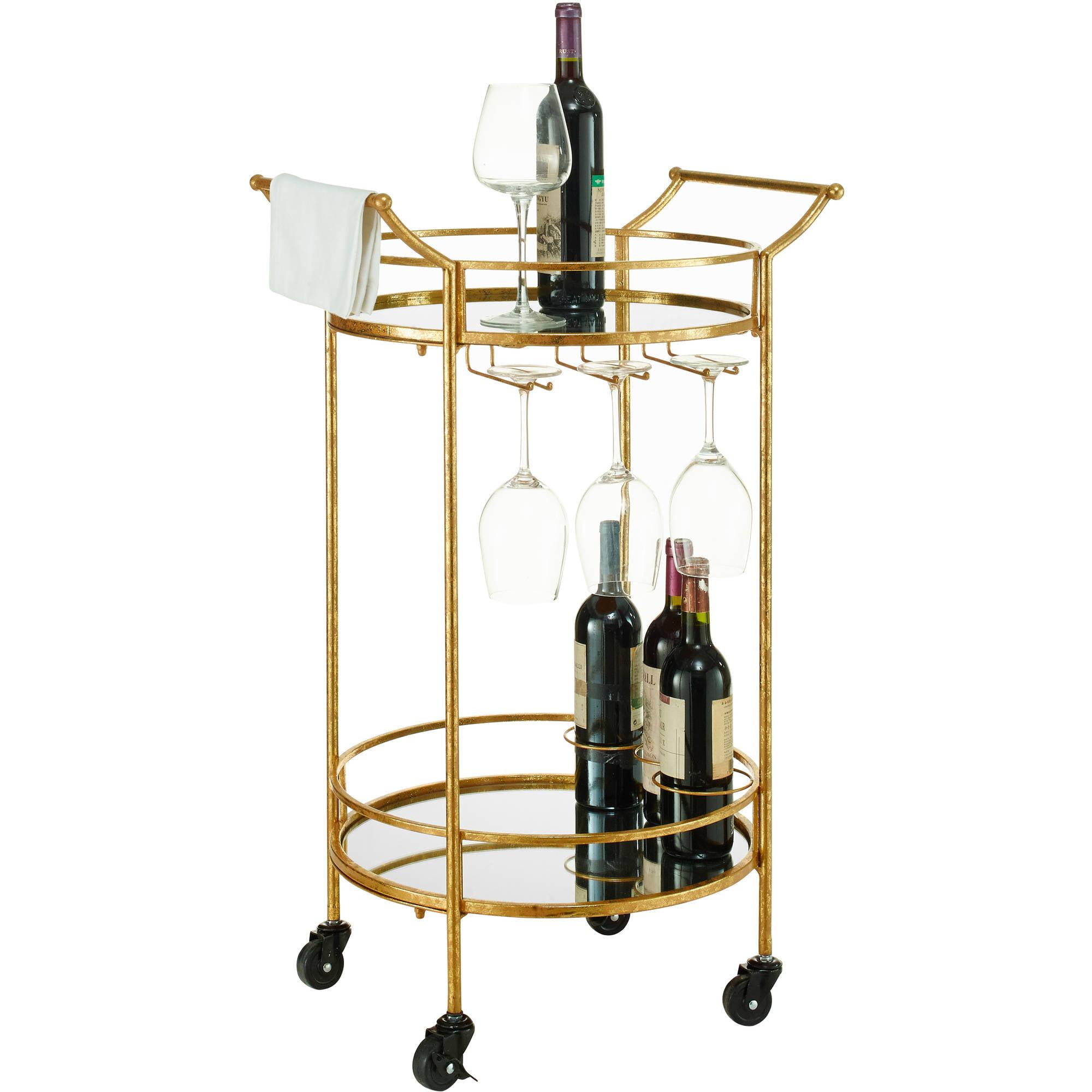 Linon Round Gold Metal Bar Cart 2 Shelves 3 Wine Holders Walmart Com Walmart Com