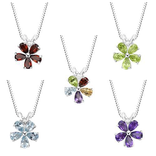 Sterling Silver Amethyst, Blue Topaz, Garnet, Peridot or Multi-gemstone Flower Pendant Necklace Sterling Silver Garnet Flower Pendant