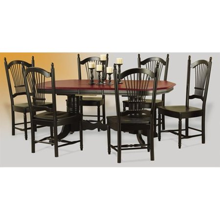 Sunset Trading Double Pedestal Trestle Dining Table in Antique Black with Cherry Finish Butterfly Top
