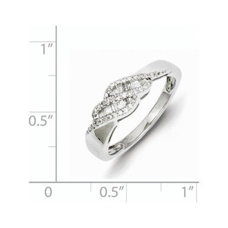 Sterling Silver Rhodium 0.21ct Diamond Baguette Swirl Ring - image 2 of 2