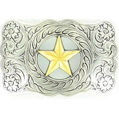Nocona Rebel Antique Star Buckle - Antique Siler, Antique Gold (18k Buckle)