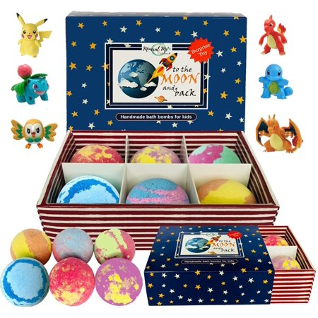 Kids Bath Bombs with Toys Inside - All Natural w/Shea Butter and Essential Oils. Gentle and Kid Safe, Gender Neutral, Bubble Bath Fizzies with Surprise Inside. Birthday Gift Set for Girls