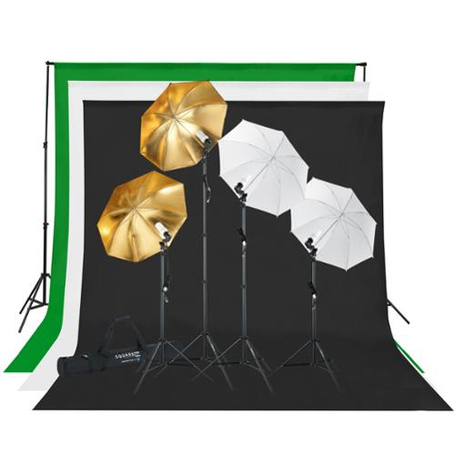 Square Perfect Professional Quality Photography Studio Lighting and Background Kit w/Muslin Backdrops