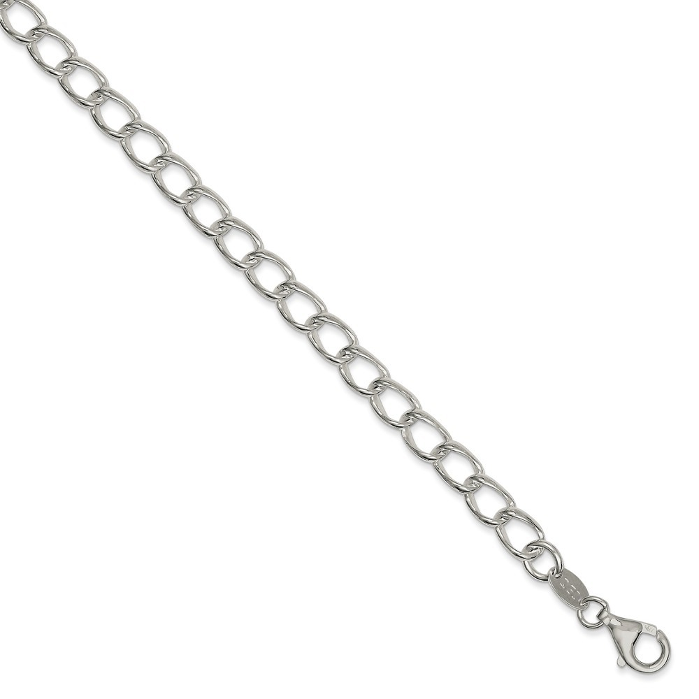 925 Sterling Silver Rhodium Plated Half round Wire Curb Chain