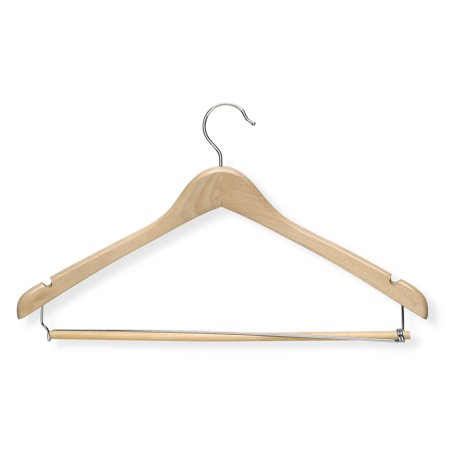 Honey Can Do Contoured Suit Hanger with Locking Bar, Maple, -