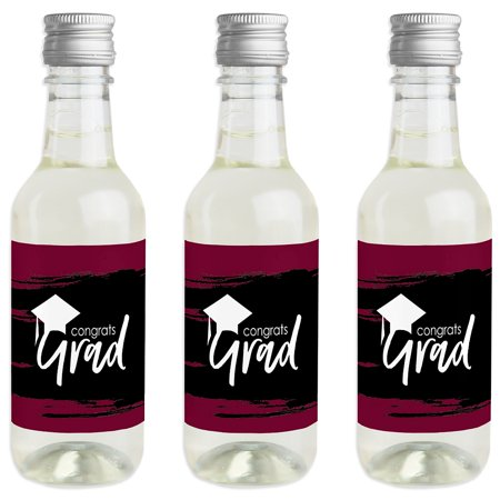 Maroon Grad - Best is Yet to Come - Mini Wine and Champagne Bottle Label Stickers - Burgundy Graduation Party Favor