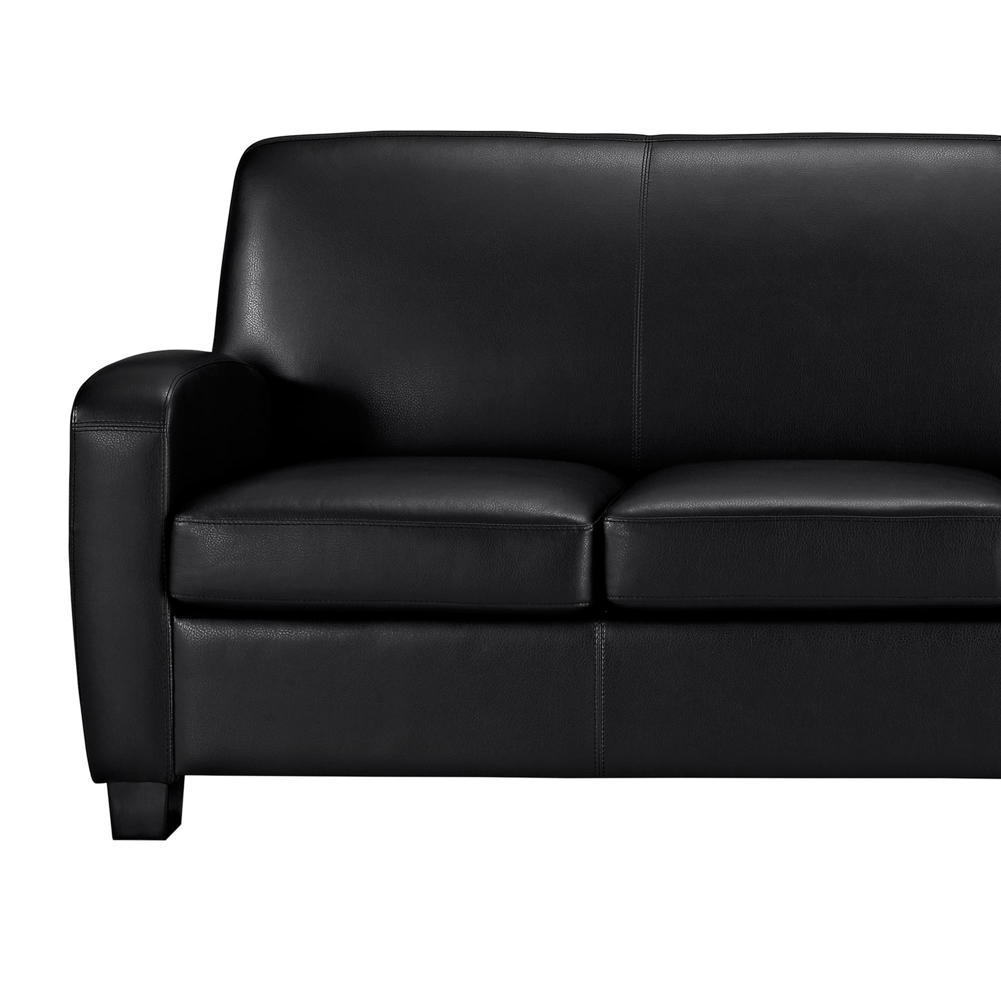Mainstays Faux Leather Sofa, Black - Walmart.com