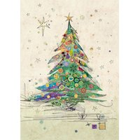 Notes & Queries Painted Tree with Gold Foil Ornaments 'Bug Art' Embossed Christmas Card