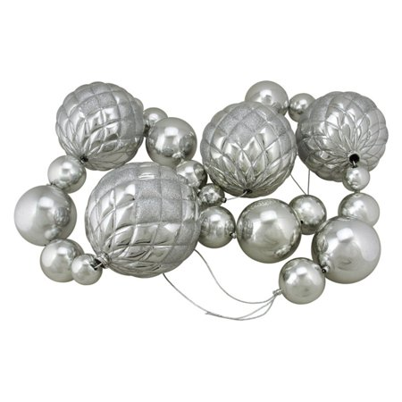 Northlight 6 ft. Shiny Silver Christmas Ball Unlit Garland with Glitter Accents