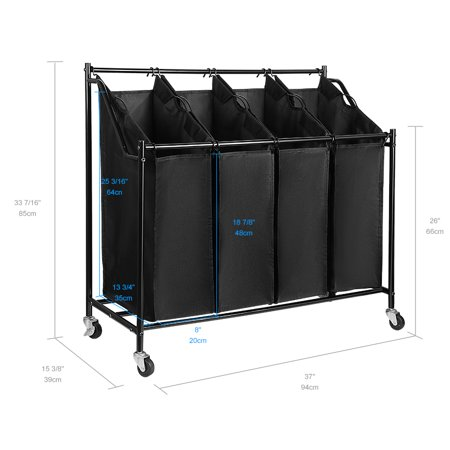4-Bag Laundry Hamper Rolling Laundry Sorter Storage Cart with w/Removable Bags and Brake Casters, Black - image 6 of 10