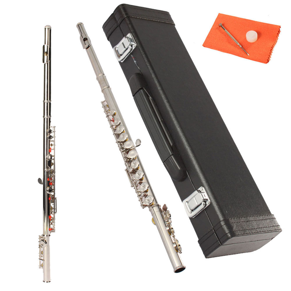 Zimtown Concert Silver Flute C Tone 16 Keys Closed Hole C Tone with Case
