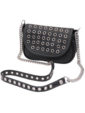 559527f83ee1b3 Product Image Black Leather Grommet and Chain Crossbody Purse #P600EYK
