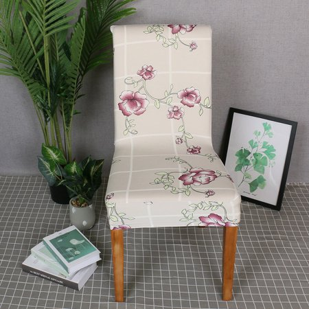 Printed Chair Cover Soft Milk Silk Home Seat Protector Stretch Anti Dust - image 1 de 7