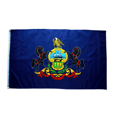 Pennsylvania Polyester Flag (3x5 Foot Pennsylvania Flag Double Stitched Pennsylvania State Flag with Brass Grommets   3 by 5 Foot Premium Indoor Outdoor Polyester Banner Flag)
