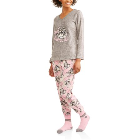 3e1ddc20323d License - Thumper Women s and Women s Plus Pajama Plush Fleece Sleep Top  and Pant 3 Piece Giftable Sleepwear Set - Walmart.com