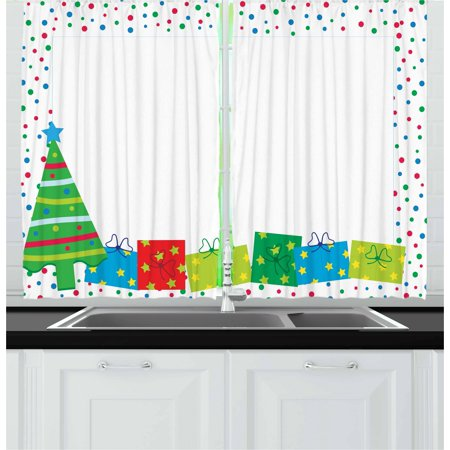 Kids Party Curtains 2 Panels Set, Happy Christmas and New Year Theme Pine Tree Surprise Boxes Border with Dots, Window Drapes for Living Room Bedroom, 55W X 39L Inches, Multicolor, by Ambesonne