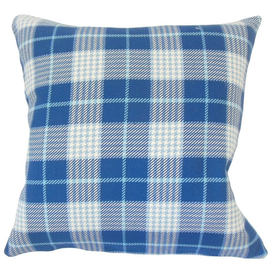 Average Throw Pillow Sizes : The Pillow Collection Querijn Plaid Down Filled Throw Pillow in Blue - Walmart.com