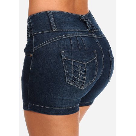 Women's Junior Ladies 3 Button Casual Everyday Summer Sexy Push Up Butt Lifting Levanta Cola Mid Rise Dark Blue Wash Jean Stretchy Denim Shorts 10889W