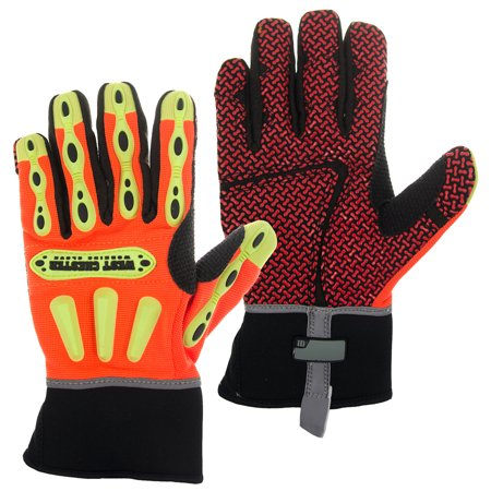 West Chester Kevlar Lined Safety Work Gloves Synthetic Leather Padded Visibility
