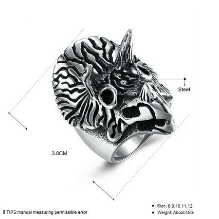 Men Creative Fashion Owl Titanium Steel Ring Unique Hand Decoration Size12 - image 5 de 7