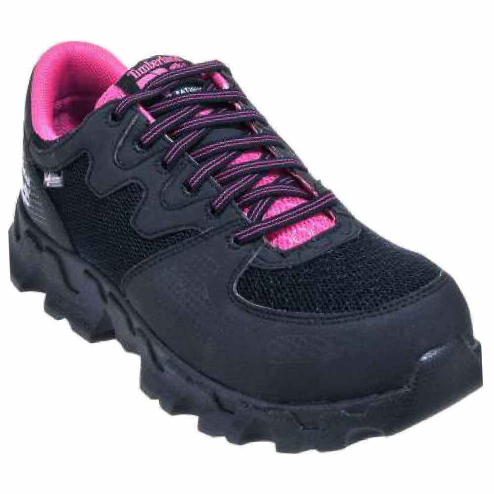 Timberland PRO Women's Powertrain Alloy Toe ESD W Industrial Shoe,Black Pink Microfiber And Textile,9 M US by Timberland PRO