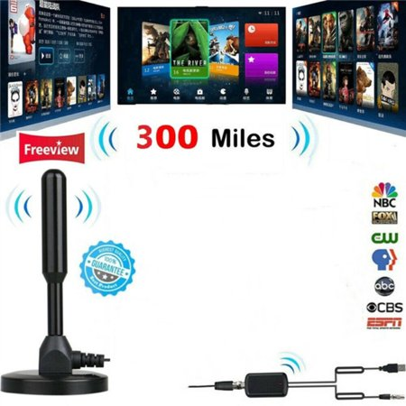 300 Miles HDTV Indoor Antenna Stick Aerial HD Digital TV Signal Amplifier Booster Portable Indoor/Outdoor Digital