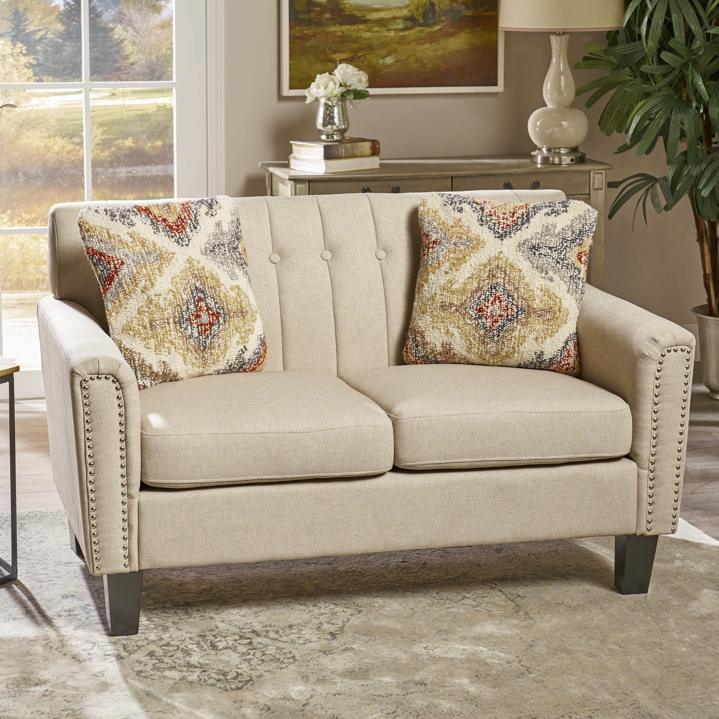 Noble House Juniper Traditional Fabric Loveseat,Wheat