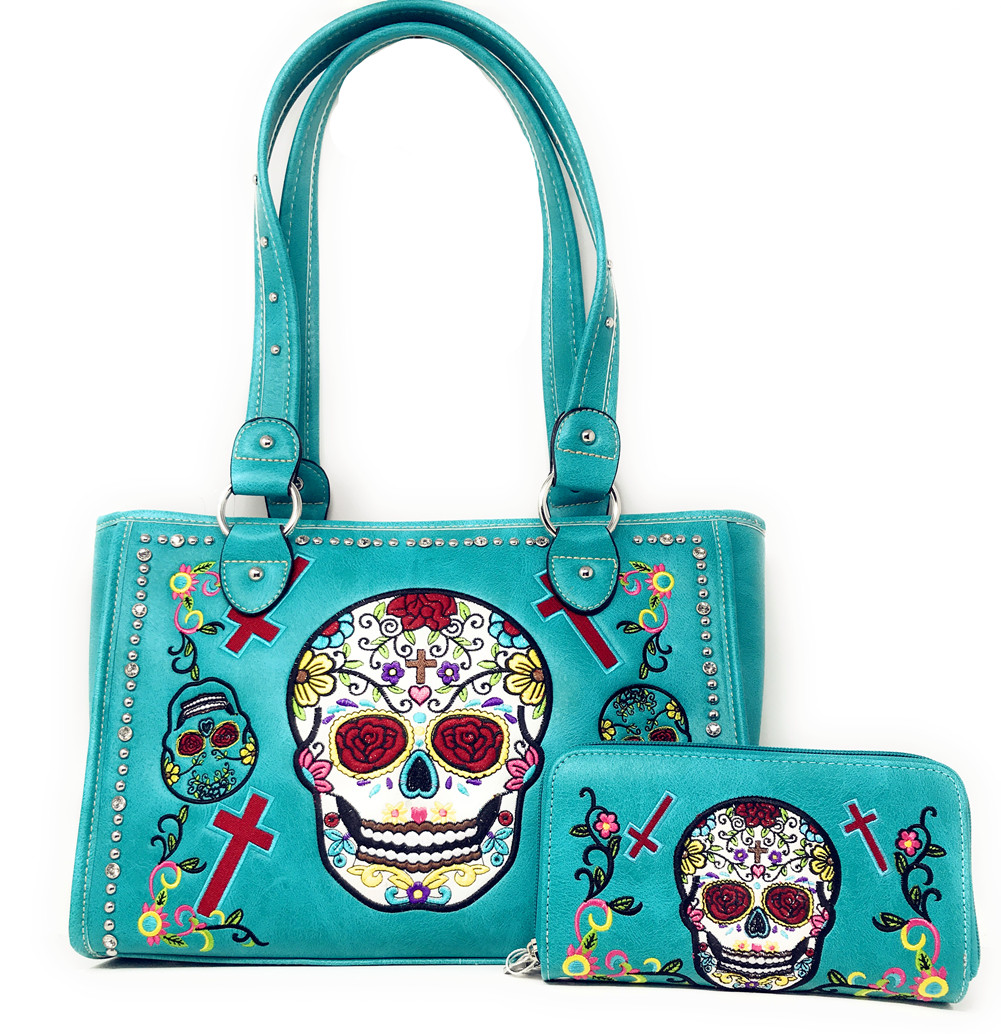 65c974c692 Western Sugar Skull Embroidery Cross Rhinestone Concealed Carry  Handbag/Wallet