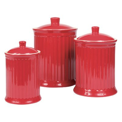 Omni Simsbury Canisters   Set Of 3   Red