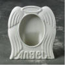 """Ceramic bisque unpainted unfinished db21693 3x5 angel picture frame 5"""" h incl. backing and plastic front"""