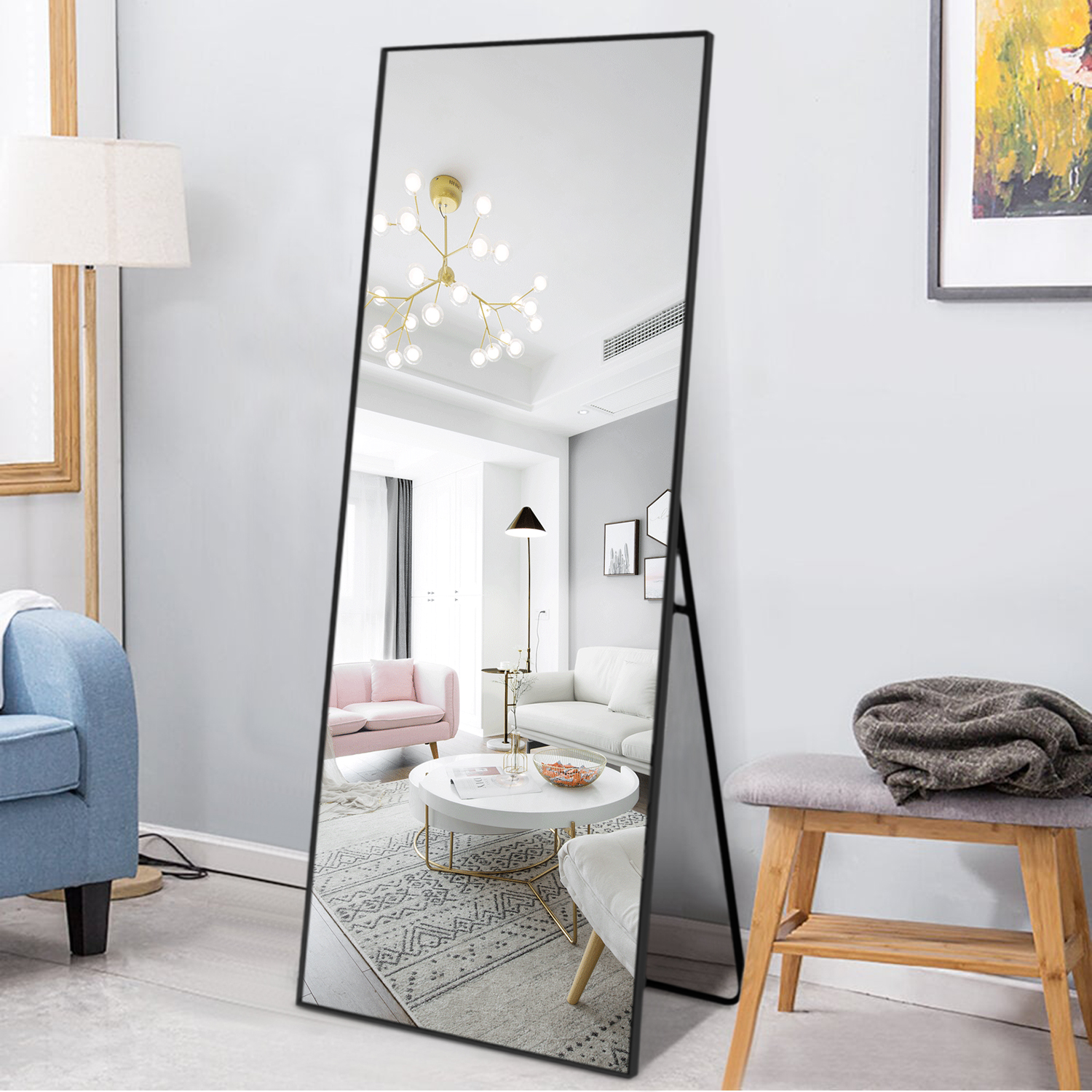 Neutype Full Length Mirror Floor Mirror With Standing Holder Hanging Leaning Large Wall Mounted Mirror Horizontal Vertical Bedroom Mirror Dressing Mirror Aluminum Alloy Thin Frame Black 59 X 20 Walmart Canada