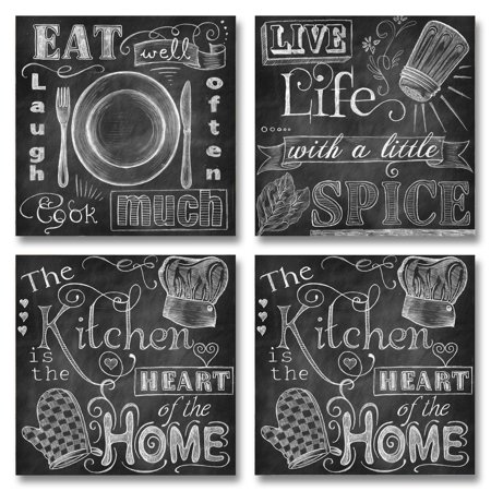 Beautiful, Fun, Chalkboard-Style Kitchen Signs; Messy Kitchen, Heart of the Home, Spice of Life, and Cook Much; Four 12x12in Paper Posters (Printed on paper and made to look like - Four Beautiful Hearts Photo