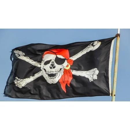 10' Comfort System - Canvas Print Skeleton Flag Symbol Pirates Skull Pirate Ship Stretched Canvas 10 x 14