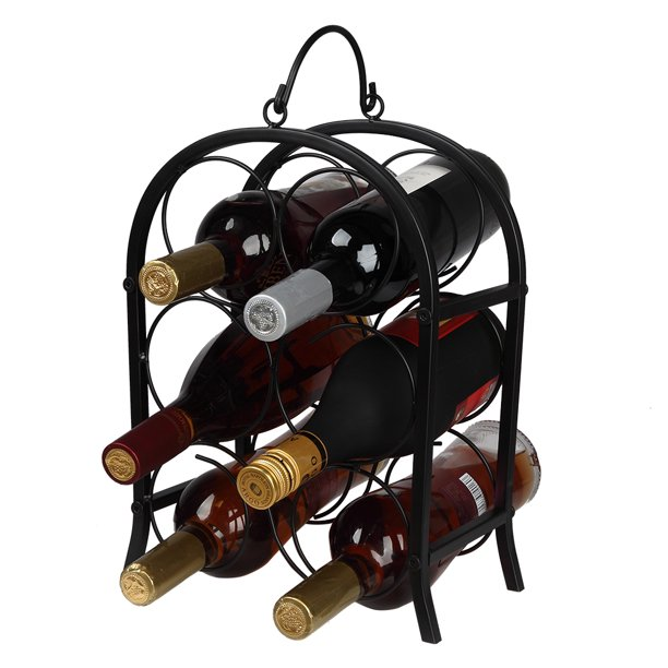 Bueautybox Tabletop Wine Rack 6 Bottle Wine Holder For Wine Storage No Assembly Required Modern Black