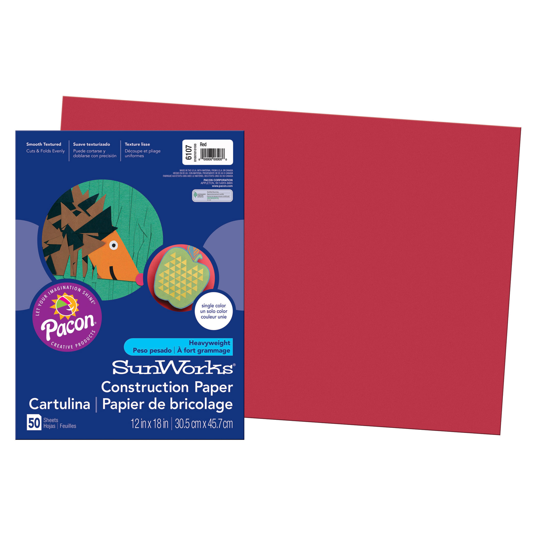 "Pacon® SunWorks® Construction Paper, 12"" x 18"", Red - 50 Sheets per pack, 5 packs"
