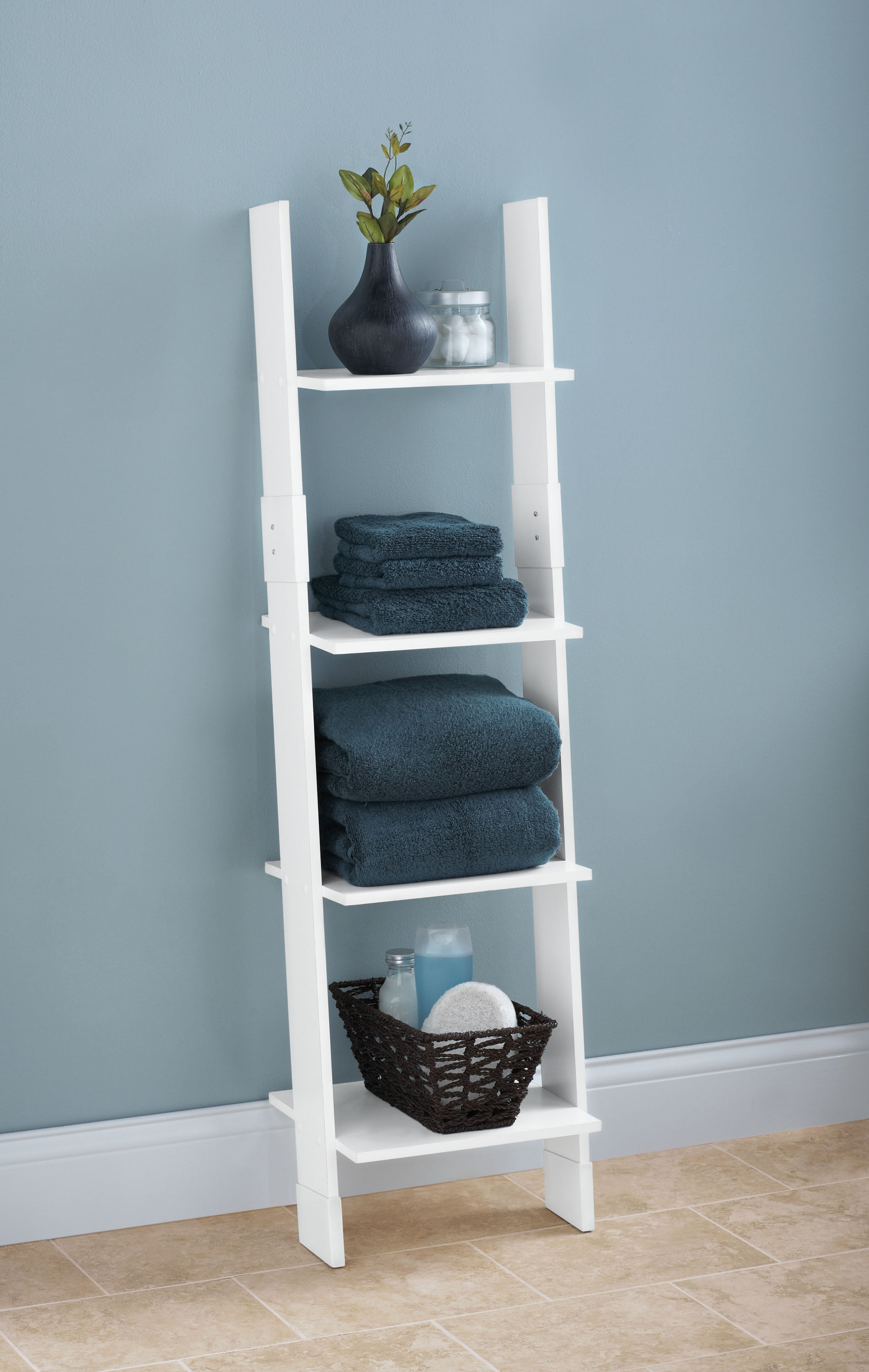 Marvelous Hawthorne Place Wood Bathroom Linen Ladder White Interior Design Ideas Truasarkarijobsexamcom