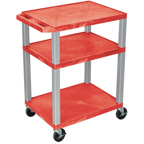 H. Wilson Tuffy 3-Shelf A/V Cart with Electric, Red Shelves and Nickel Legs