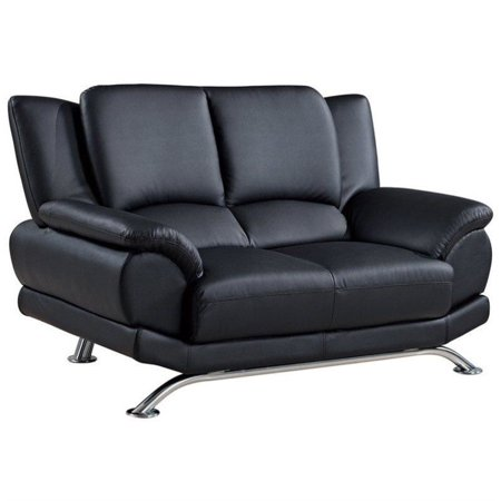 9908 Black Leather (Global Furniture USA 9908 Leather Loveseat in Black)
