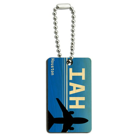 Houston TX - Intercontinental (IAH) Airport Code Wood Rectangle Key Chain - Adult Stores Houston Tx