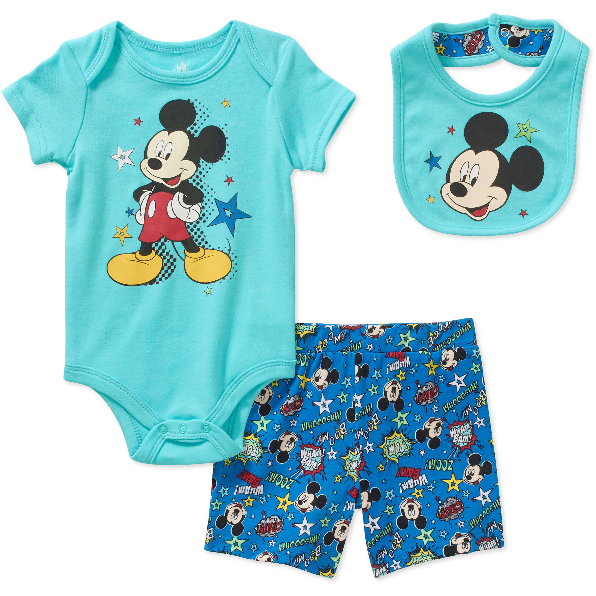 Mickey Mouse Newborn Baby Boys' Bodysuit, Diaper Cover and Bib 3-Piece Outfit Set